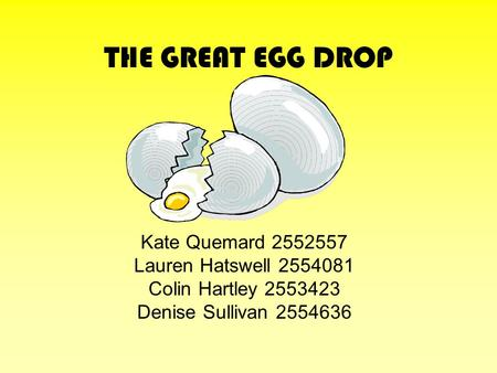 THE GREAT EGG DROP Kate Quemard 2552557 Lauren Hatswell 2554081 Colin Hartley 2553423 Denise Sullivan 2554636.