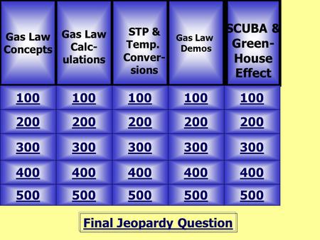 Final Jeopardy Question Gas Law Concepts Gas Law Calc- ulations 500 Gas Law Demos SCUBA & Green- House Effect 100 200 300 400 500 400 300 200 100 STP &