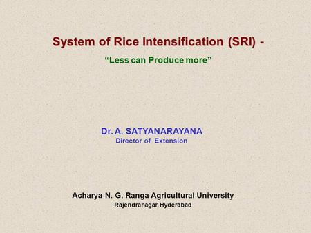 "System of Rice Intensification (SRI) - ""Less can Produce more"" Dr. A. SATYANARAYANA Director of Extension Acharya N. G. Ranga Agricultural University Rajendranagar,"