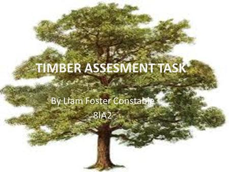 TIMBER ASSESMENT TASK By Liam Foster Constable 8IA2.