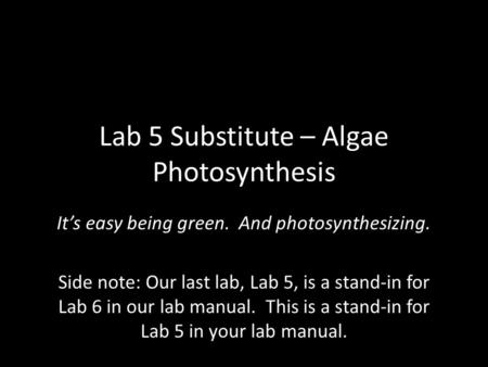 Lab 5 Substitute – Algae Photosynthesis It's easy being green. And photosynthesizing. Side note: Our last lab, Lab 5, is a stand-in for Lab 6 in our lab.