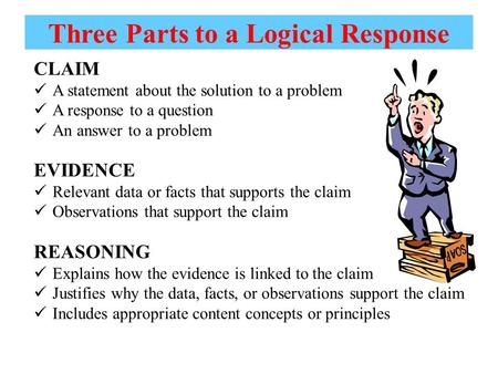 Three Parts to a Logical Response CLAIM A statement about the solution to a problem A response to a question An answer to a problem EVIDENCE Relevant data.