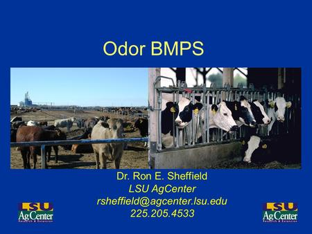 Odor BMPS Dr. Ron E. Sheffield LSU AgCenter 225.205.4533.