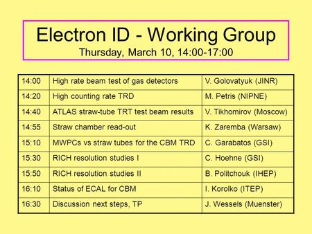 Electron ID - Working Group Thursday, March 10, 14:00-17:00 14:00High rate beam test of gas detectorsV. Golovatyuk (JINR) 14:20High counting rate TRDM.