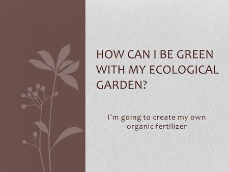I'm going to create my own organic fertilizer HOW CAN I BE GREEN WITH MY ECOLOGICAL GARDEN?