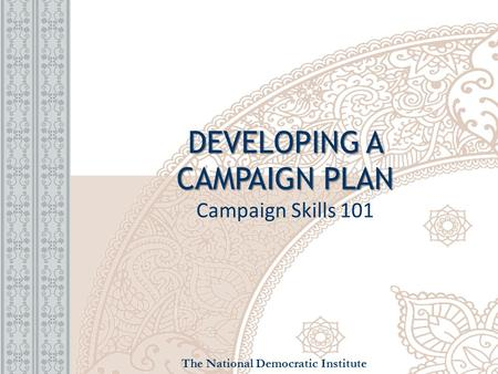 DEVELOPING A CAMPAIGN PLAN DEVELOPING A CAMPAIGN PLAN Campaign Skills 101 The National Democratic Institute.
