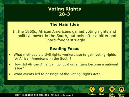 Voting Rights 28-3 The Main Idea