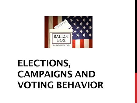 ELECTIONS, CAMPAIGNS AND VOTING BEHAVIOR. GUIDELINES FOR ELECTIONS The Constitution: Election of members of the House of Representatives every two years.