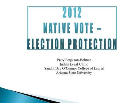 2012 NATIVE VOTE – ELECTION PROTECTION Patty Ferguson-Bohnee