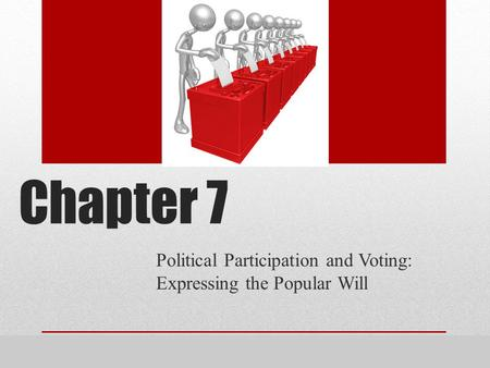 Presentation by Eric Miller, Blinn College, Bryan, Texas. Chapter 7 Political Participation and Voting: Expressing the Popular Will.