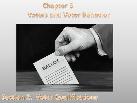 Lesson Objectives: By the end of this lesson you will be able to: 1.Identify the universal qualifications for voting in the United States. 2.Explain the.