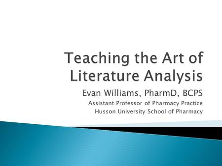 Teaching the Art of Literature Analysis