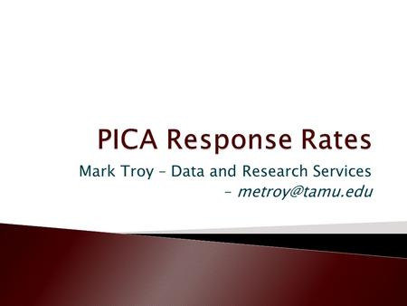 Mark Troy – Data and Research Services –