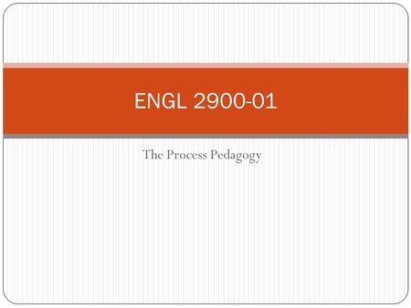 The Process Pedagogy ENGL 2900-01. The Process Pedagogy The process pedagogy is a pedagogy that believes students should be treated like real writers,