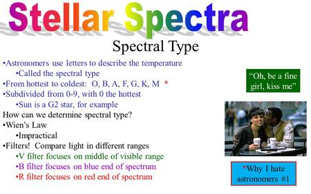 Spectral Type Astronomers use letters to describe the temperature Called the spectral type From hottest to coldest: O, B, A, F, G, K, M * Subdivided from.