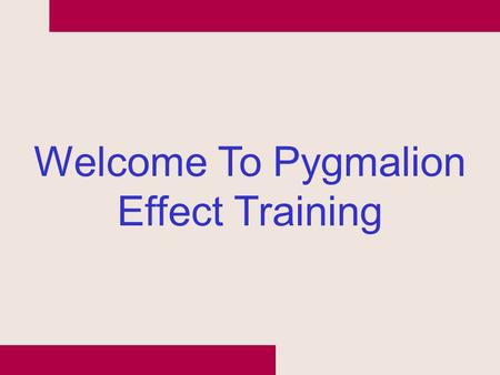 Welcome To Pygmalion Effect Training. Hot Round.