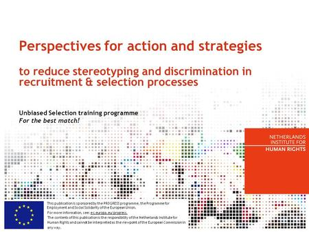 Perspectives for action and strategies to reduce stereotyping and discrimination in recruitment & selection processes Unbiased Selection training programme.
