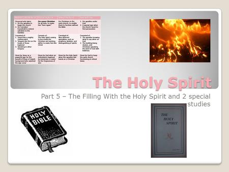 The Holy Spirit Part 5 – The Filling With the Holy Spirit and 2 special studies.
