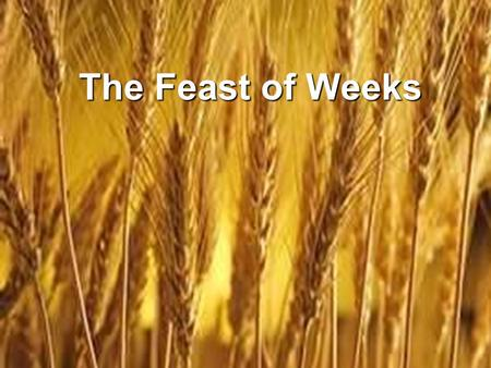 The Feast of Weeks. Yeshua Fulfilled Spring Feasts: Yeshua Fulfilled Spring Feasts: