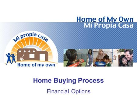 "Home Buying Process Financial Options. Objectives Define the Four ""Cs"" of the Loan Process Determine How Much You Can Afford for a House Calculate Front-End/Back-End."