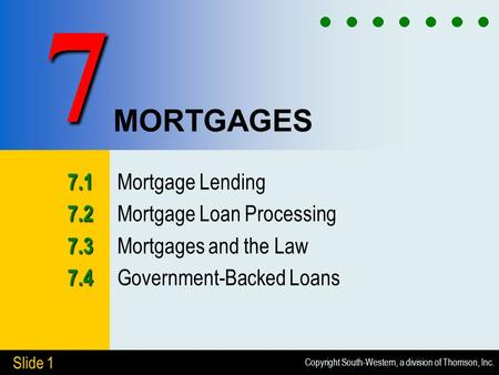 Copyright South-Western, a division of Thomson, Inc. Slide 1 MORTGAGES 7.1 7.1 Mortgage Lending 7.2 7.2 Mortgage Loan Processing 7.3 7.3 Mortgages and.