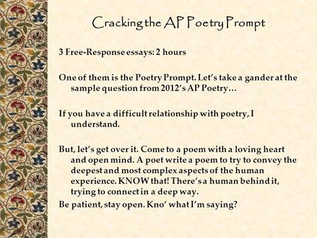 Cracking the AP Poetry Prompt