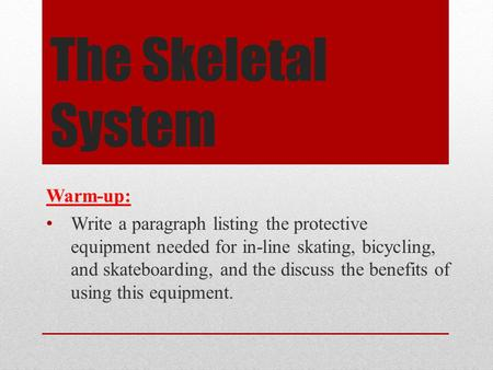 The Skeletal System Warm-up: Write a paragraph listing the protective equipment needed for in-line skating, bicycling, and skateboarding, and the discuss.