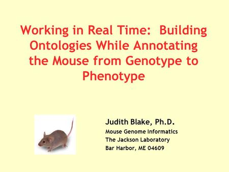 Working in Real Time: Building Ontologies While Annotating the Mouse from Genotype to Phenotype Judith Blake, Ph.D. Mouse Genome Informatics The Jackson.