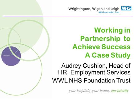 Your hospitals, your health, our priority Working in Partnership to Achieve Success A Case Study Audrey Cushion, Head of HR, Employment Services WWL NHS.