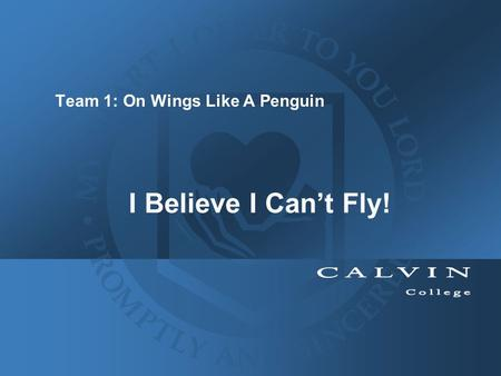 I Believe I Can't Fly! Team 1: On Wings Like A Penguin.