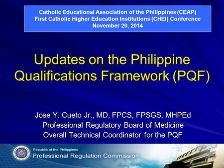 Updates on the Philippine Qualifications Framework (PQF)