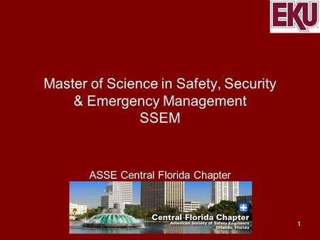 Master of Science in Safety, Security & Emergency Management SSEM