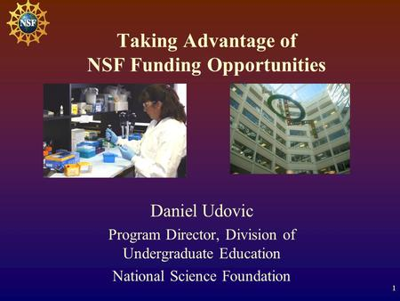 1 Taking Advantage of NSF Funding Opportunities Daniel Udovic Program Director, Division of Undergraduate Education National Science Foundation.