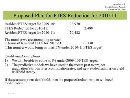 Proposed Plan for FTES Reduction for 2010-11 Resident FTES target for 2009-10: 22,970 FTES Reduction for 2010-11: 2,488 Resident FTES target for 2010-11: