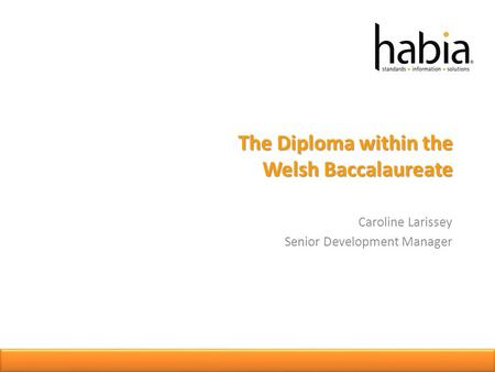 The Diploma within the Welsh Baccalaureate Caroline Larissey Senior Development Manager.