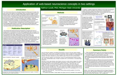 Application of web-based neuroscience concepts in two settings Kathryn Lovell, PhD; Michigan State University Publication Description Introduction Methods.