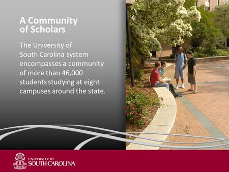 A Community of Scholars The University of South Carolina system encompasses a community of more than 46,000 students studying at eight campuses around.
