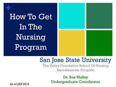+ San Jose State University The Valley Foundation School Of Nursing Baccalaureate Program Dr. Sue Malloy Undergraduate Coordinator How To Get In The Nursing.