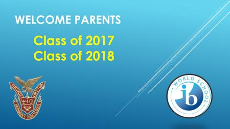 WELCOME PARENTS Class of 2017 Class of 2018. IBDP VS. IBCC Which direction is right for my child to go forward in the International Baccalaureate Programme?
