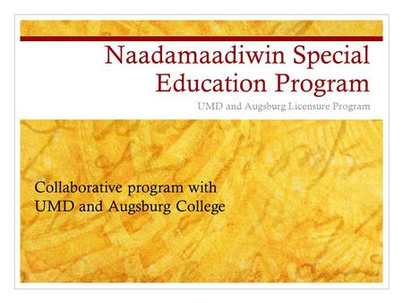 Naadamaadiwin Special Education Program UMD and Augsburg Licensure Program Collaborative program with UMD and Augsburg College.