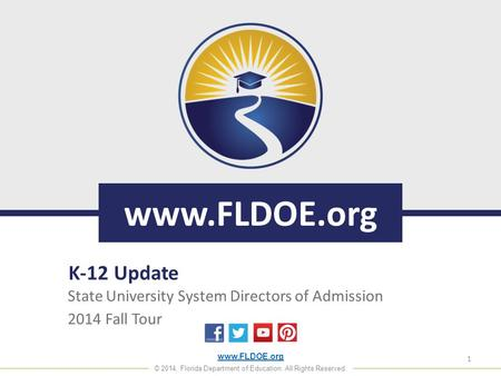 Www.FLDOE.org © 2014, Florida Department of Education. All Rights Reserved. www.FLDOE.org State University System Directors of Admission 2014 Fall Tour.