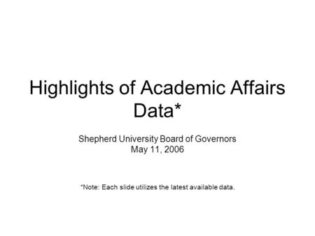 Highlights of Academic Affairs Data* Shepherd University Board of Governors May 11, 2006 *Note: Each slide utilizes the latest available data.