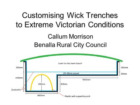 Customising Wick Trenches to Extreme Victorian Conditions Callum Morrison Benalla Rural City Council.