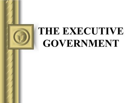 THE EXECUTIVE GOVERNMENT. Issues Definition of executive power Limits on executive power Multiple sources of executive power Relationship of executive.