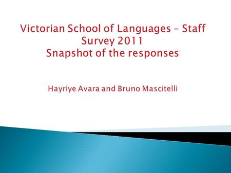  Background ◦ – First survey of its kind in the VSL ◦ - It is a survey to capture responses but also understand staff thinking and areas of improvement.