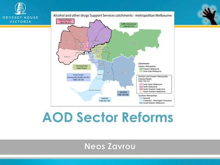 Neos Zavrou AOD Sector Reforms. THE PROBLEM – 108+ AOD service providers Poor quality data Many barriers Poor service integration Inadequate funding Limited.