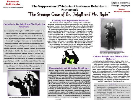 The Suppression of Victorian Gentlemen Behavior in Stevenson's Curiosity and Suppressed Behavior Mr. Utterson and Dr. Jekyll exude curiosity in the novella.