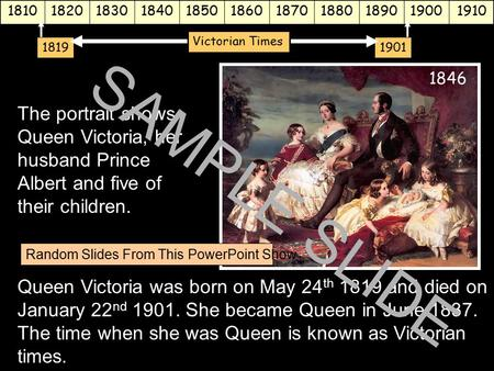 Www.ks1resources.co.uk The portrait shows Queen Victoria, her husband Prince Albert and five of their children. Queen Victoria was born on May 24 th 1819.