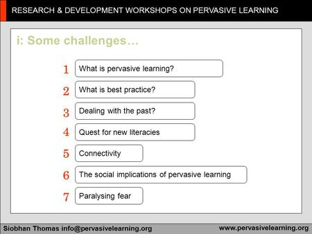 RESEARCH & DEVELOPMENT WORKSHOPS ON PERVASIVE LEARNING Siobhan Thomas i: Some challenges … What is.