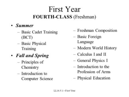 LL16.5.1 - First Year First Year FOURTH-CLASS (Freshman) Summer –Basic Cadet Training (BCT) –Basic Physical Training Fall and Spring –Principles of Chemistry.
